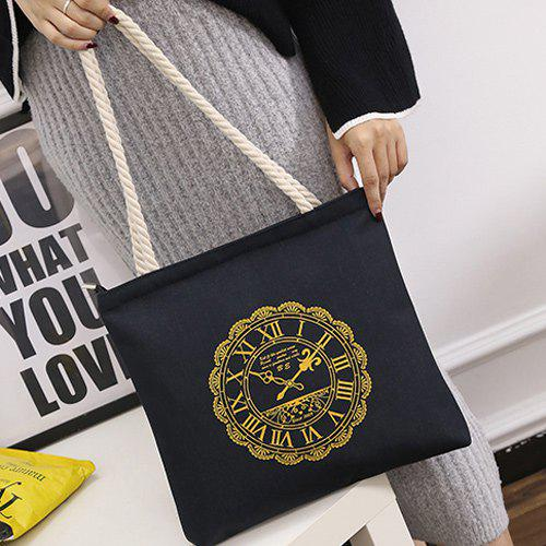 Hemp Rope Clock Print Canvas Shoulder Bag
