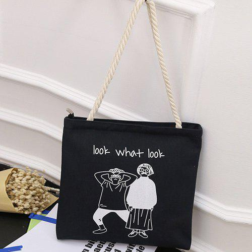 Hemp Rope Figure Print Canvas Shoulder Bag