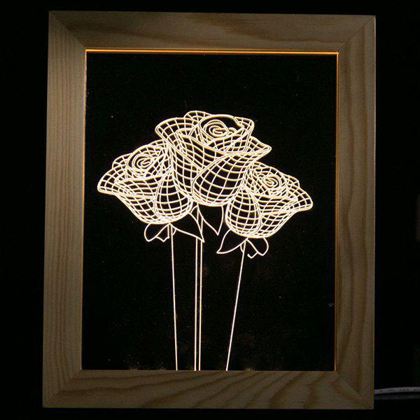 Rose Flower Wooden Photo Frame LED Table Night Light - TRANSPARENT