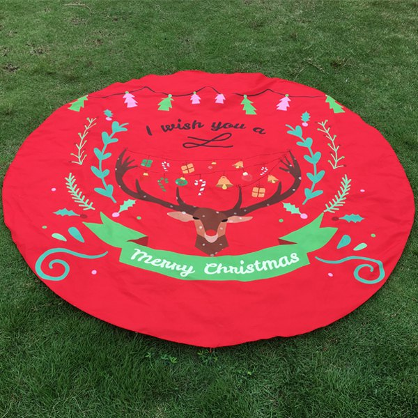 Merry Christmas Reindeer Olive Branch Round Beach Throw merry christmas chillies seafood pizza print round beach throw