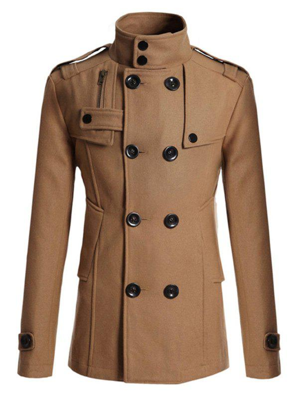 Double Breasted Epaulet Design Spliced Wool Mix Coat - CAMEL XL