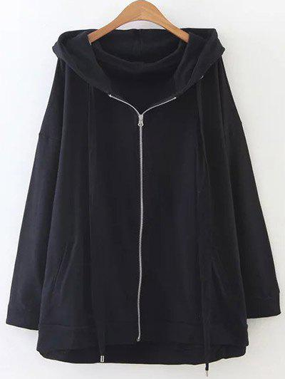 Zip Through Slouchy Oversized Hoodie - BLACK ONE SIZE