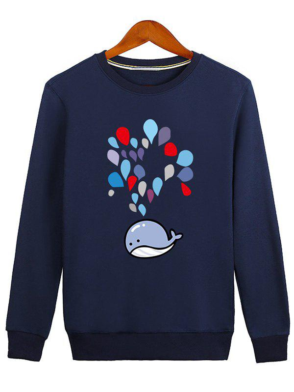 Crew Neck Water Drop Printed Sweatshirt drop shoulder crew neck plain sweatshirt