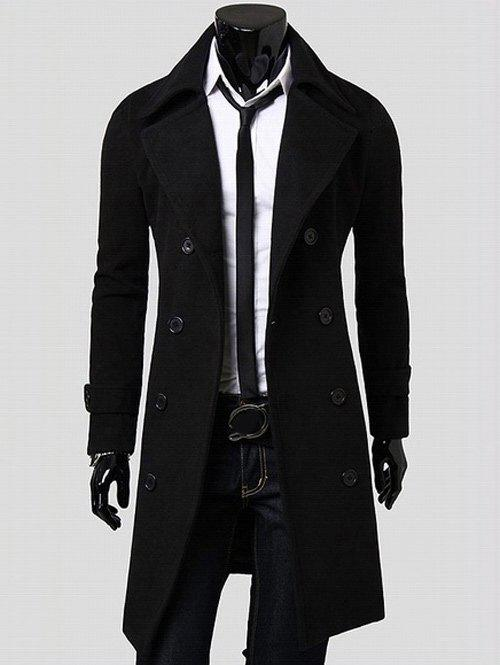 Wide Lapel Overcoat with Side Pockets - BLACK M