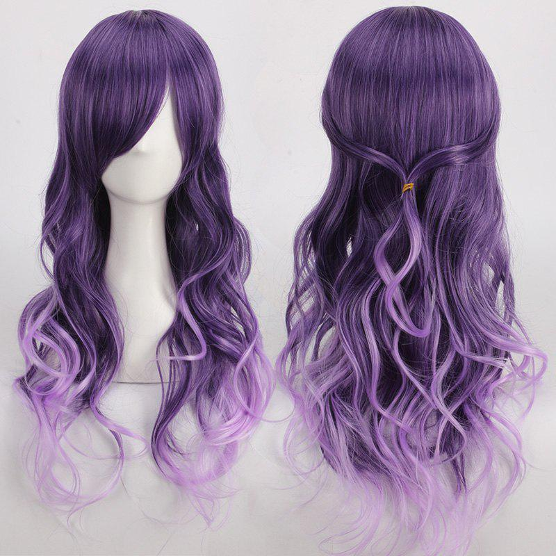 Purple Ombre Side Bang Long Wavy Cosplay Synthetic Wig dark to brown body wavy ombre synthetic lace front wig ombre synthetic lace front wig cosplay heat resistant