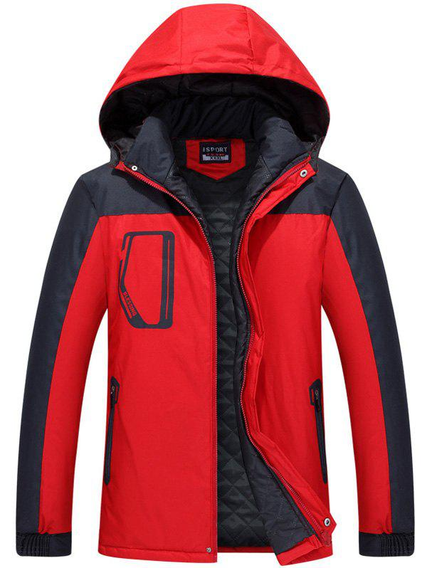 Hooded Zippered Two Tone Padded Jacket two tone hooded patched casual jacket