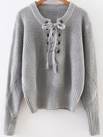 Lace Up Ribbed Pullover Sweater - GRAY ONE SIZE