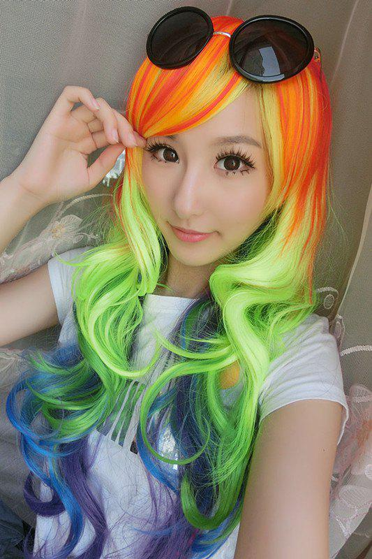 Long Side Bang Wavy Rainbow Cosplay Lolita Synthetic Wig designing intelligent front ends for business software