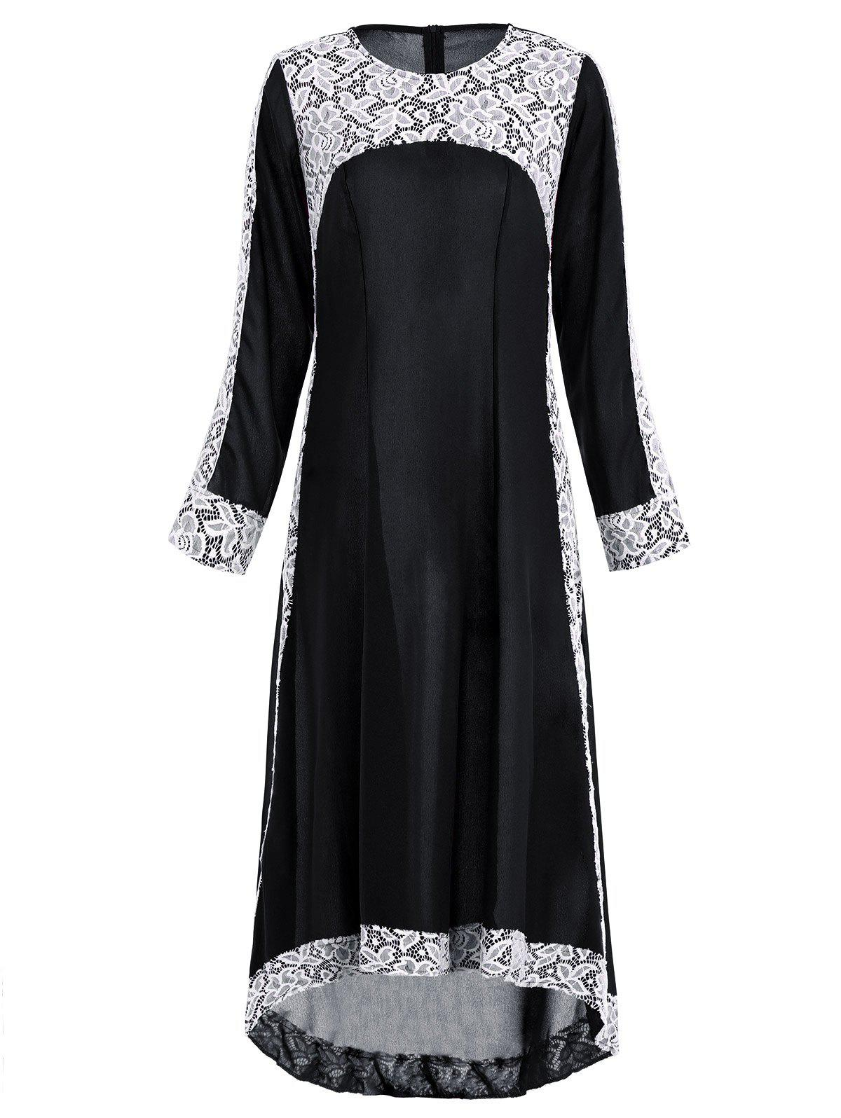 Lace Insert Maxi Asymmetric Long Sleeve Dress long sleeve lace insert mini dress