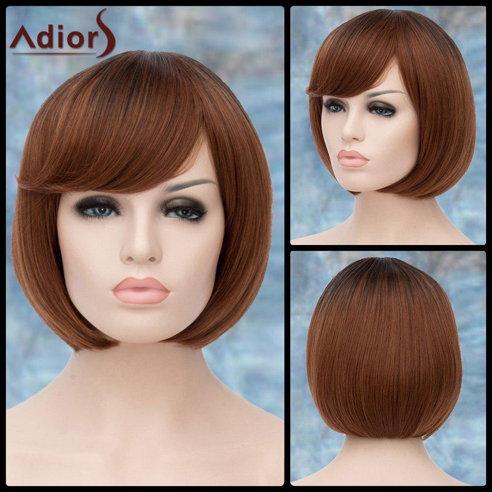 Adiors Inclined Bang Straight Short Ombre Bob Synthetic WigHair<br><br><br>Color: COLORMIX