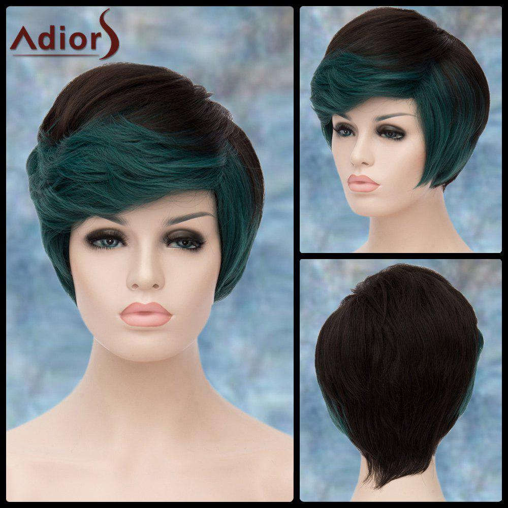 Adiors Short Fluffy Oblique Bang Straight Highlight Synthetic WigHair<br><br><br>Color: COLORMIX