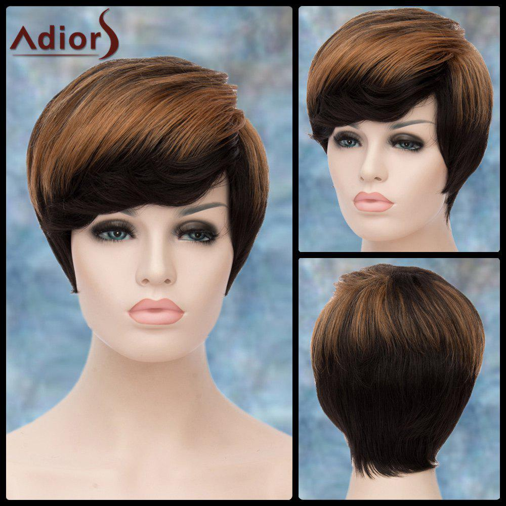 Adiors Short Fluffy Side Bang Straight Highlight Synthetic Wig adiors short highlight layered side bang straight synthetic wig