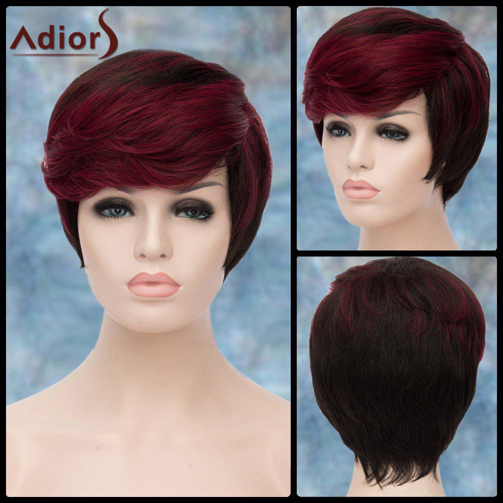 Adiors Short Highlight Shaggy Straight Side Bang Synthetic Wig - COLORMIX