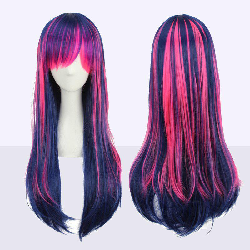 Double Color Stunning Long Neat Bang Straight Cosplay Synthetic Wig vogue synthetic neat bang long natural straight offbeat black white highlight capless lolita style cosplay wig