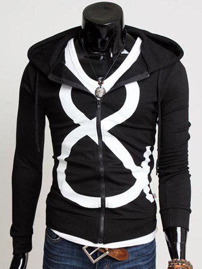 Zip Up Drawstring Graphic Hoodie - BLACK M