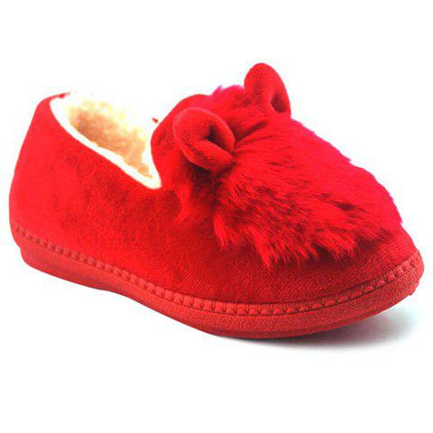 Plush House Slippers - RED 39
