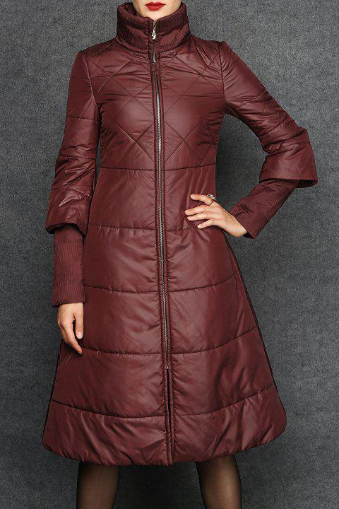 High Neck Padded Coat - CLARET S