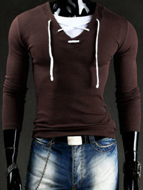 Slimming V-Neck Stylish Drawstring Faux Twinset Long Sleeve Polyester Men's T-Shirt - COFFEE 2XL