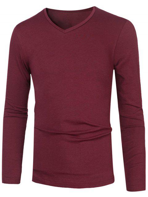 Slim Fit V Neck Long Sleeve Basic Tee - BURGUNDY L