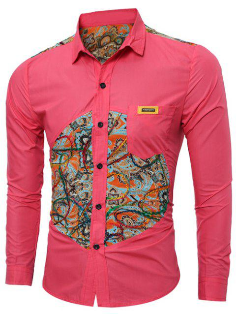 Long Sleeve Colorful Floral Spliced Pocket Shirt - RED M