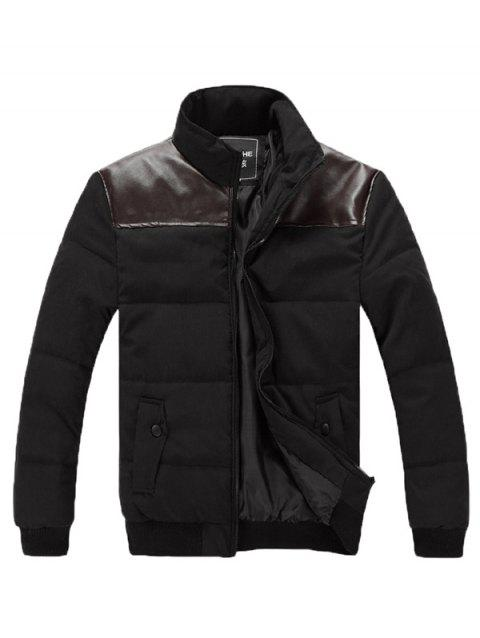 Pied de Col Zip Up PU Veste Matelassée Epissage - Noir XL
