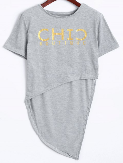 Active High Low Cropped T-Shirt+Graphic Pants - LIGHT GRAY L