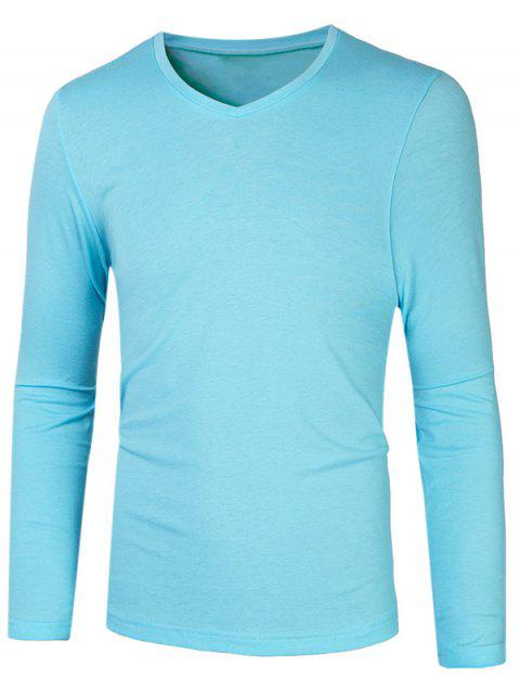 Slim Fit V Neck Long Sleeve Basic Tee - AZURE M