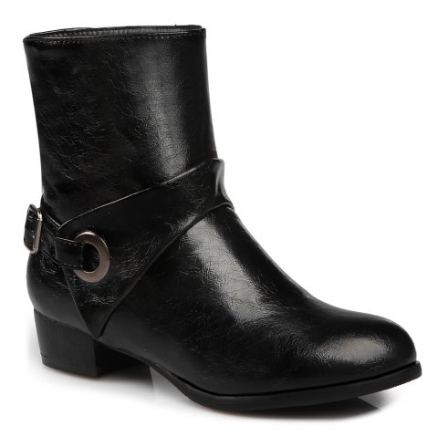 Buckle Strap PU Leather Short Boots - BLACK 38