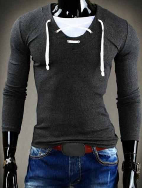Slimming V-Neck Stylish Drawstring Faux Twinset Long Sleeve Polyester Men's T-Shirt - DEEP GRAY 2XL