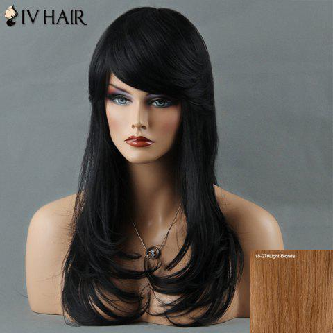 Layered Tail Adduction Long Oblique Bang Siv Human Hair Wig - LIGHT BLONDE 18/27