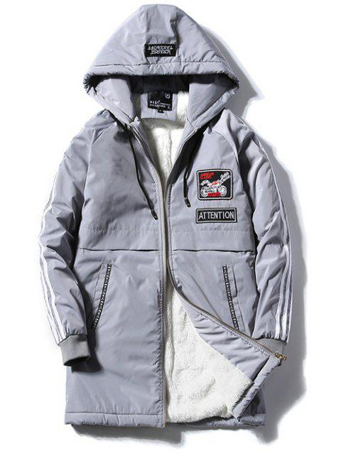 Patch Design Striped Zipper Up Hooded Padded Coat - GRAY XL