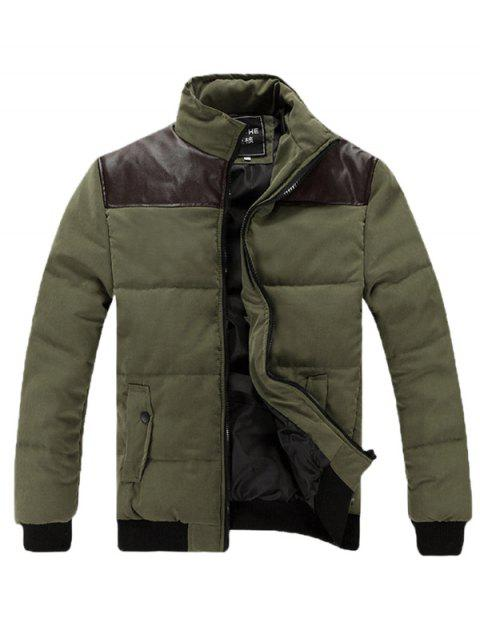 Stand Collar Zip Up PU Spliced Padded Jacket - ARMY GREEN XL