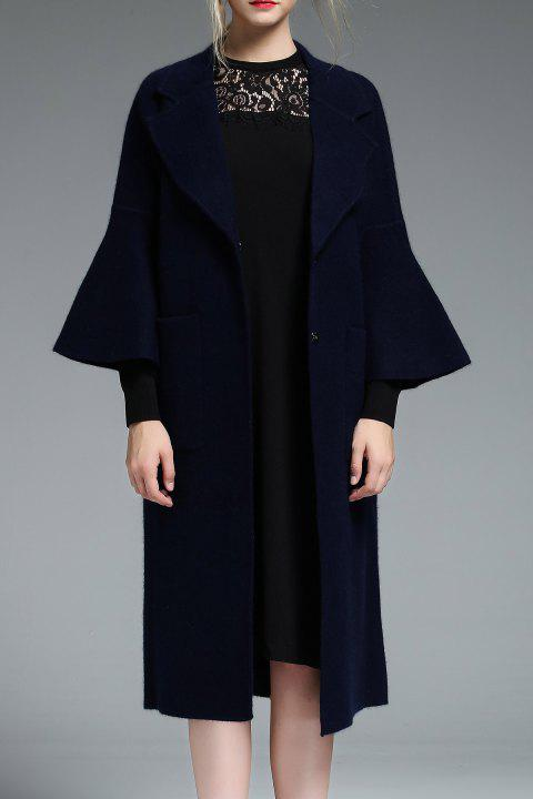 Lapel Wool Blend Coat Flare Sleeve - Bleu Indigo Perle XL