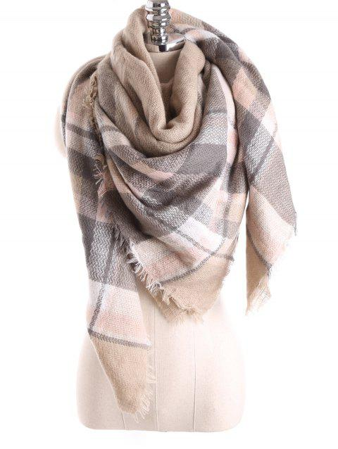 Warm Tartan Plaid Blanket Shawl Scarf - LIGHT KHAKI