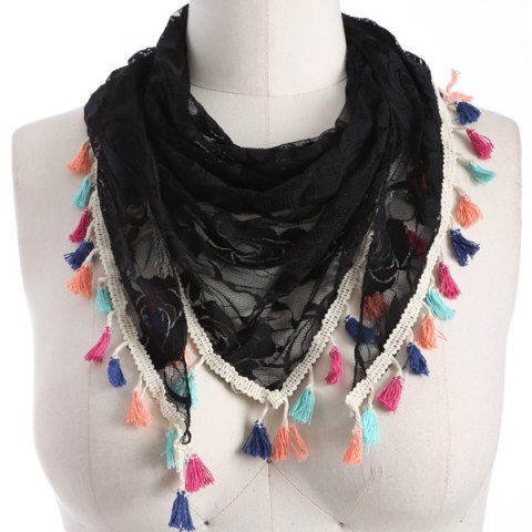 Colorful Tassel Lace Triangle Scarf - BLACK