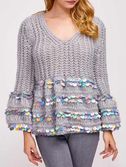 Sequin Embellished Chunky Sweater - GRAY ONE SIZE