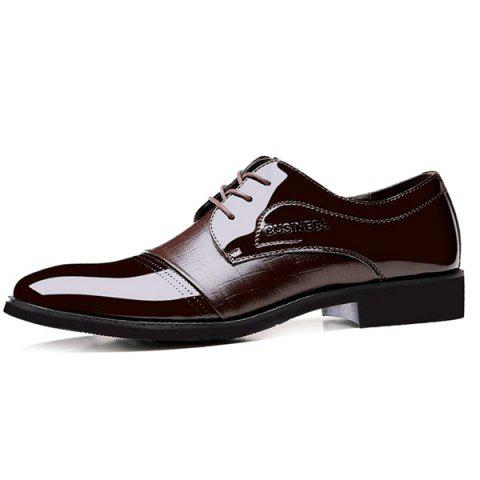 Patent Leather Panel Crocodile Pattern Formal Shoes - BROWN 42