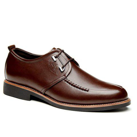 Stitching PU Leather Formal Shoes - BROWN 43