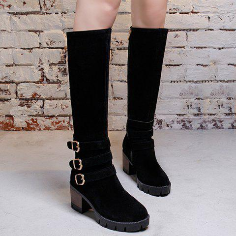 Buckle Straps Chunky Heel Boots - BLACK 37