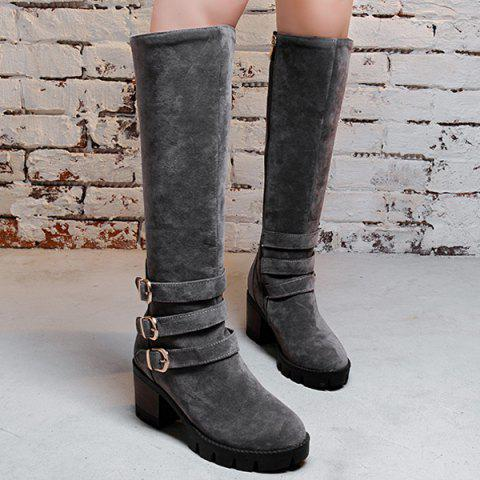 Buckle Straps Chunky Heel Boots - GRAY 38