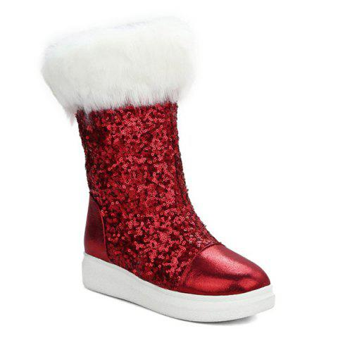 Sequined Cloth Faux Fur Snow Boots - RED 37