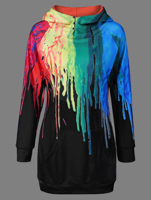 Oil Paint Over Print Rainbow Hoodie - BLACK 3XL