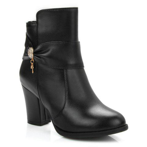 Zipper Metal Rhinesttones Ankle Boots - BLACK 37