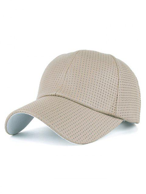 Breathable PU Leather Small Holes Design Baseball Hat - BEIGE