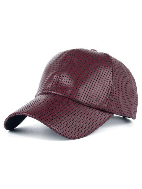 Breathable PU Leather Small Holes Design Baseball Hat - CLARET
