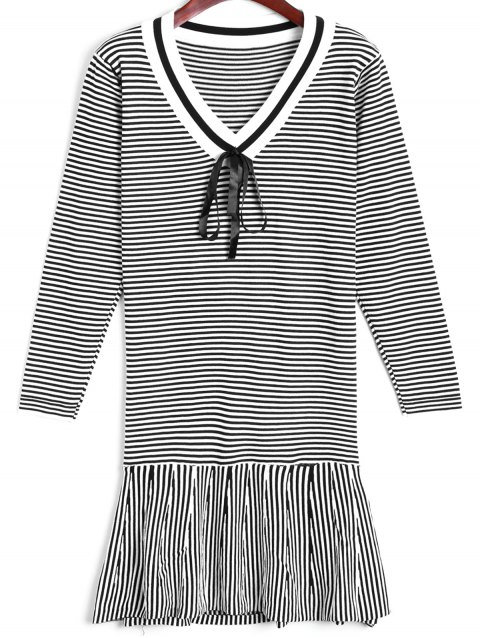 Flounce Striped Sweater Dress - WHITE ONE SIZE