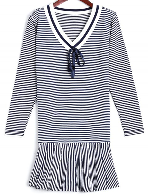 Flounce Striped Sweater Dress - BLUE ONE SIZE