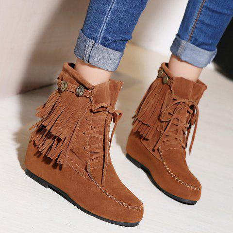 Hidden Wedge Stitching Weaving Ankle Boots - BROWN 39
