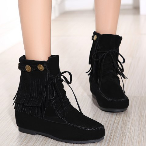 Hidden Wedge Stitching Weaving Ankle Boots - BLACK 37