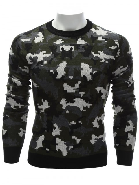 Camouflage Crew Neck Sweater - COLORMIX L